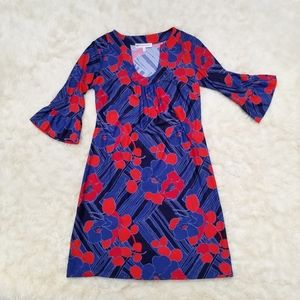 Jude Connally shift dress blue red floral S
